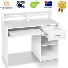 Artiss Office Computer Desk Study Table Workstation Shelf Storage Bookcase White