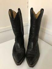 Sancho Western Cowboy Unisex Black Leather Boots Size 10