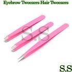 Pink Eyebrow Tweezers Hair Tweezers Slanted Straight Pointy Set Of 3