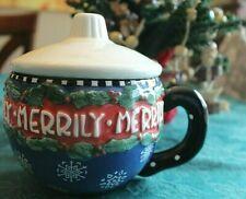 Mary Engelbreit 'Merrily' Christmas Mug with Lid, 1996