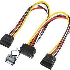 S-ATA Stecker GERADE Y-Strom-Kabel Adapter Verteiler 2x SATA Buchse Kupplung ✔