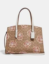 NWT COACH 31667 Tan Chalk Signature Rose Print Charlie Carryall Tote Satchel