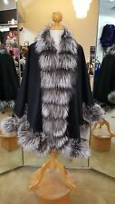 Black Cashmere Cape With Silver Fox Fur Trim Beautifully Canadian Label