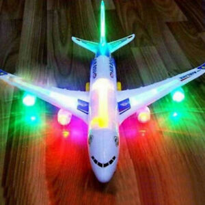 Kids Electric Flashing Airplane Lights Sounds Aeroplane Musical Educational Toy