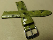 Speidel Green Patent Ostrich Grain Leather 18mm Watch Band Silver Tone Buckle