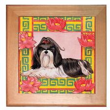 """Shih Tzu Dog Kitchen Ceramic Trivet Framed in Pine 8"""" x 8"""""""