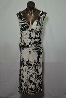 CARMEN MARC VALVO black and white silk dress bias cut deep V neck size 4