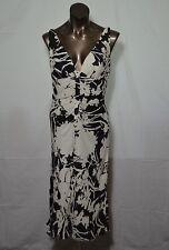 CARMEN MARC VALVO black and white silk dress bias cut deep V neck size 4