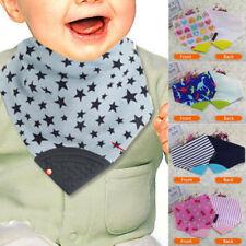 Baby Chewable Silicone Teether Teething Bandana Bibs Triangle Scarf Saliva Towel