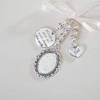 """Wedding bouquet charm silver oval locket, """"missing you as I walk...""""  & """"dad"""""""