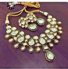 Real Kundan Necklace Set Bollywood Jewelry Ad CZ Polki Handmade Statement Set 2