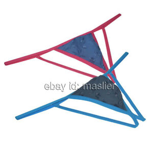 Men's Embroidery Pouch Jockstrap Bikini Pouch T-Back String Thong Underwear