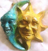 "8"" Wall Sculpture, Sun & Moon Faces, Handmade Cast Stone Original by Claybraven"