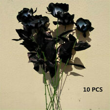 10PCS Artificial Flowers Black Roses Fake Roses Wedding Bouquet Party Home Decor
