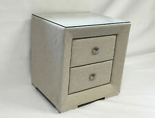 NEW Modern Fabric Bed Side Table with Glass Top  - Oat White