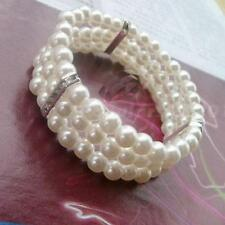 1pcs Fashion 3 Rows Pearl With Rhinestone Elastic Stretchy Bangle Bracelet JNEG
