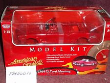 MOTOR MAX 1964 1/2 FORD MUSTANG CONV MODEL KIT 1/18 RED SKILL LEVEL 3
