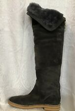 Jimmy Choo Boot Gray Suede Over The Knee Furry Lined Zip Up Back Size 39 New81/2