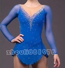 Figure Skating Dress Women's Girls' Skating Dress Long sleeve royal blue