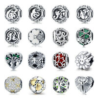 Women .925 Silver Gift Charms Beads European Pedants With CZ Fit Bracelets Hot