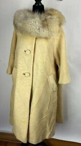 Vintage 60s Lilli Ann Tisse A Paris Ivory Mohair Silver Fox Fur Swing Coat Sz M