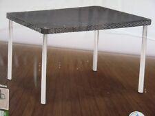 Aluminium Gartentisch Melanie eckig Rattan-Geflecht Glasplatte 150 x 90 x 75 cm