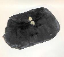 Vintage 1930's Muff-O-Glida Fluffy Black Pile Velvet Hand Warmer & Purse