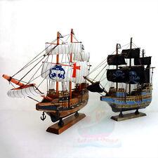 WOOD MODEL 39cm length PIRATE SHIP Sailing Boat Corsair Tall Ship Nautical decor
