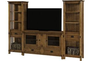 Amish Arts & Crafts Solid Wood Entertainment Center Wall Unit TV Tower Console