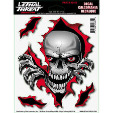4320-1309 Lethal Threat Motorcycle Skull Zombie Graphic Decal Peek a Boo Sticker