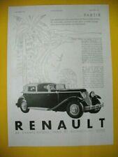 PUBLICITE DE PRESSE RENAULT AUTOMOBILE NERVASTELLA MONASTELLA COTE D'AZUR 1930
