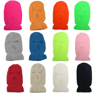 3 Hole Full Face Mask Ski Mask pink Winter Cap Balaclava  Beanie Tactical Hat