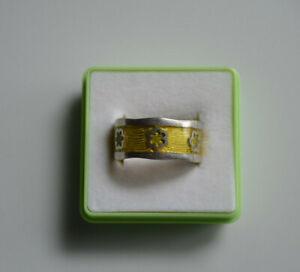 TCM Tchibo Ring Gr.18 Silber 925 Breite 1 cm Blumenmuster Gelb Neuwertig  !