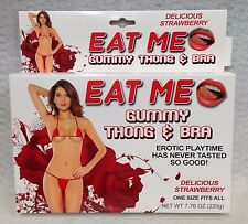 Eat Me Gummy Thong & Bra Strawberry Red 1 Size Most Hot Sexy Edible Lovers Gift