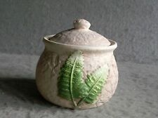 Trinket Jar Ceramic Boston Green Fern design Vanity Jar with Lid Earthy Tan