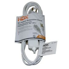 6 ft 13 Amp 3 outlet 16 gauge White indoor Extension Cord, Vinyl Construction