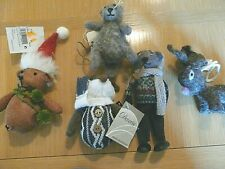 NEW Set of 5 CUTE Woodland  Animals PRIMITIVE Country Christmas ORNAMENTS