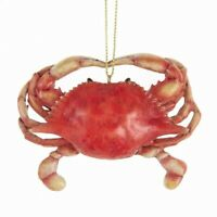 "Red Crab Ornament Hanging Tree Christmas X-Mas Holiday Gift 3.38"" Resin"