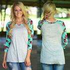 femme manches longues T-shirt ras de cou décontracté en vrac haut chemisier