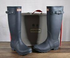 Hunter Women's Grey Matte Rubber Rain Boots Original Tall 7 MED WFT1000RMA Slate