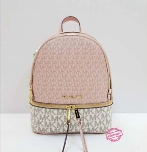 Michael Kors Bag Backpack Women's Logo Leather Pink White MK