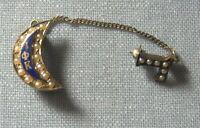 14K Gold / Enamel / Pearl Sorority Pin 2.3 grams total