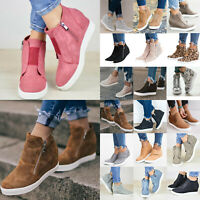 Womens Hidden Wedge Heel High Top Pumps Casual Sneaker Ankle Boots Shoes Size