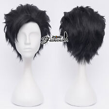 30CM Black Layered Short Men Fashion Hair Cosplay Wig Heat Resistant+Wig Cap