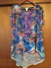 Women's Chicos Purple Psychedelic Mesh Overlay T-Shirt 2 Large