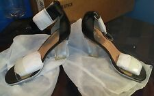 "Jeffrey Campbell ""Soiree"" Open Toe High Heel Shoes Black/Silver/Clear sz 10M NEW"