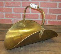 Vintage Brass Claw Foot Fireplace Wood Kindling Magazine Holder Carrier