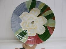 "KW-393 Large Ceramic Fruit Bowl with flower 14 "" BLUE GREEN WHITE PEACH BROWN RE"