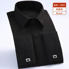 Mens Dress Shirts Long Sleeves French Cuff Casual Slim Formal Business CA6385