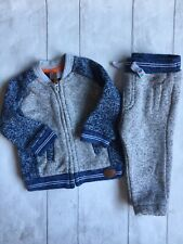Baby Boy's Clothes 3-6mths - 2pc Outfit Knitted Zip Up Jacket/Trousers/Tracksuit